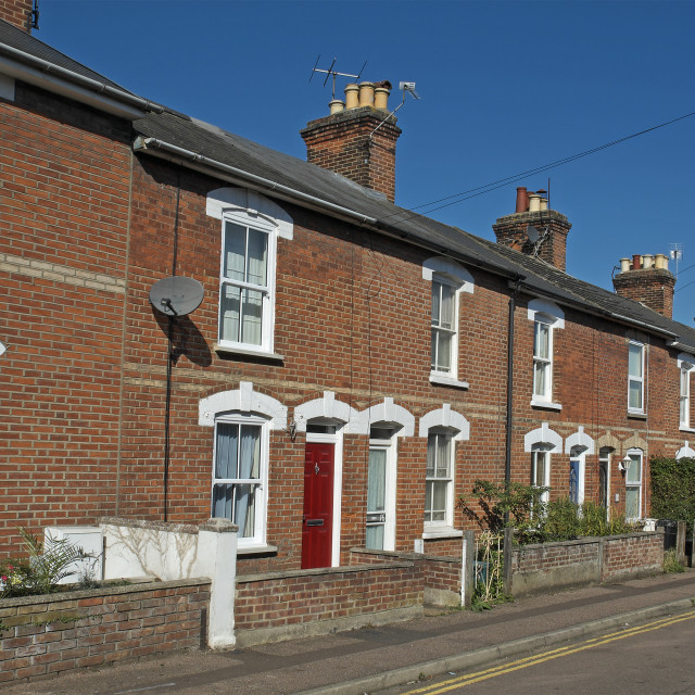 """Street of Victorian Terraced Houses in the UK"" stock image"