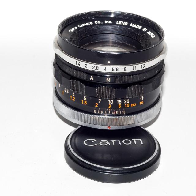 """Canon FL 50mm F/1.4 Lens"" stock image"