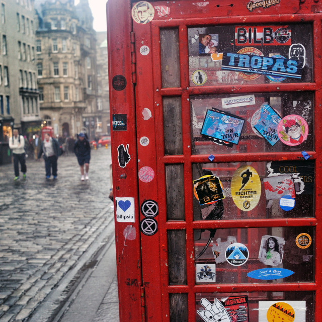 """Telephone Box - Royal Mile, Edinburgh"" stock image"
