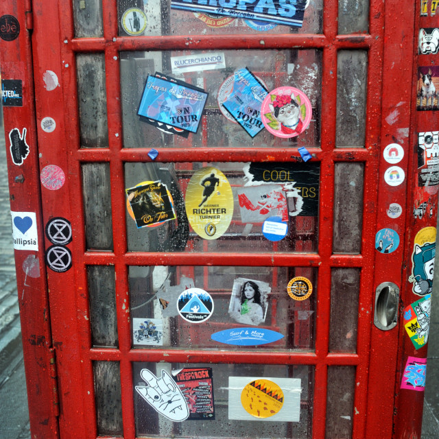 """Red telephone box door - Royal Mile. Edinburgh"" stock image"