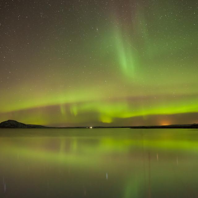"""northern lights - Lake Myvatn - Iceland"" stock image"