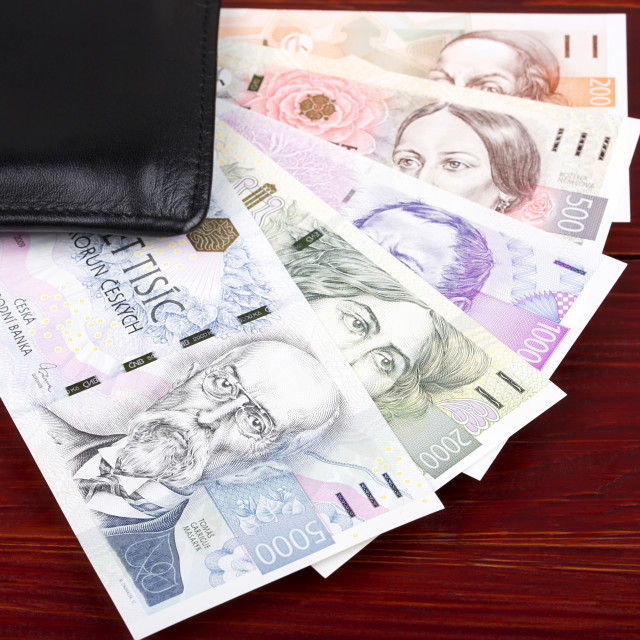 """Czech money in the black wallet"" stock image"