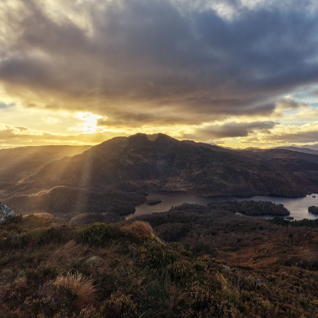"""Ben Venue and Loch Katrine from Ben A'an"" stock image"