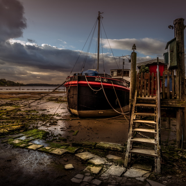 """Pin Mill Boathouse"" stock image"