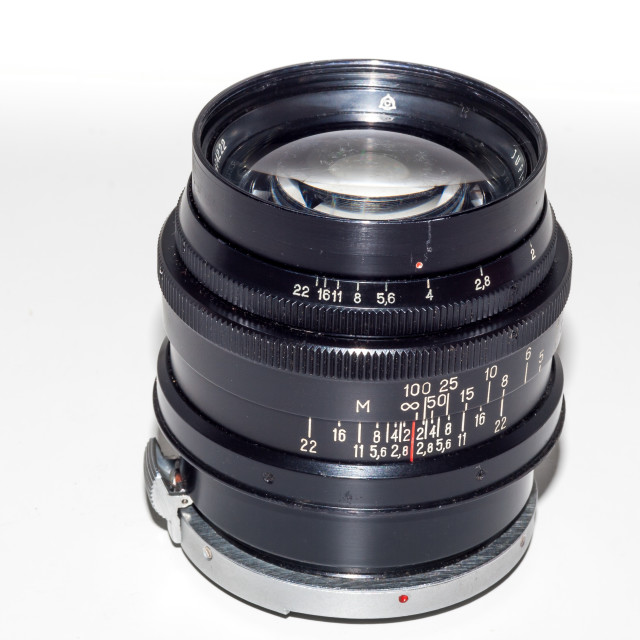 """Jupiter-9 85mm F/2 lens for Kiev/Contax"" stock image"