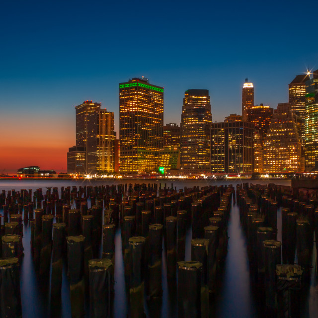"""Lower Manhattan from Brooklyn Bridge Park at Dusk"" stock image"