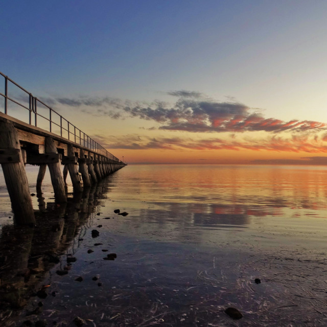 """Sunset @ Port Germien Jetty"" stock image"