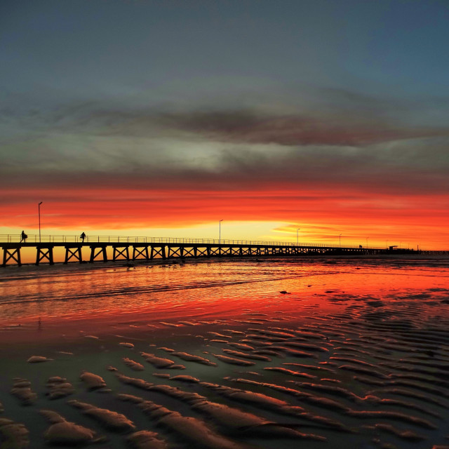 """Moonta Bay Jetty Sunset"" stock image"
