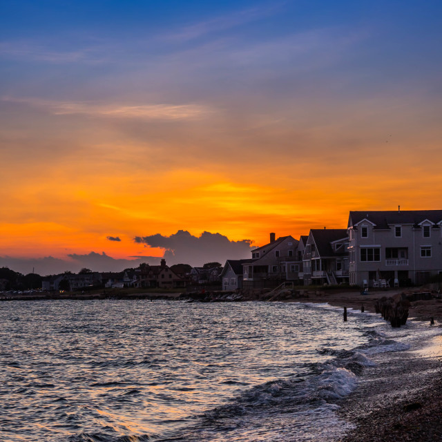 """A dramatic vibrant sunset scenery in Cape Cod Martha's Vineyard, Massachusetts"" stock image"