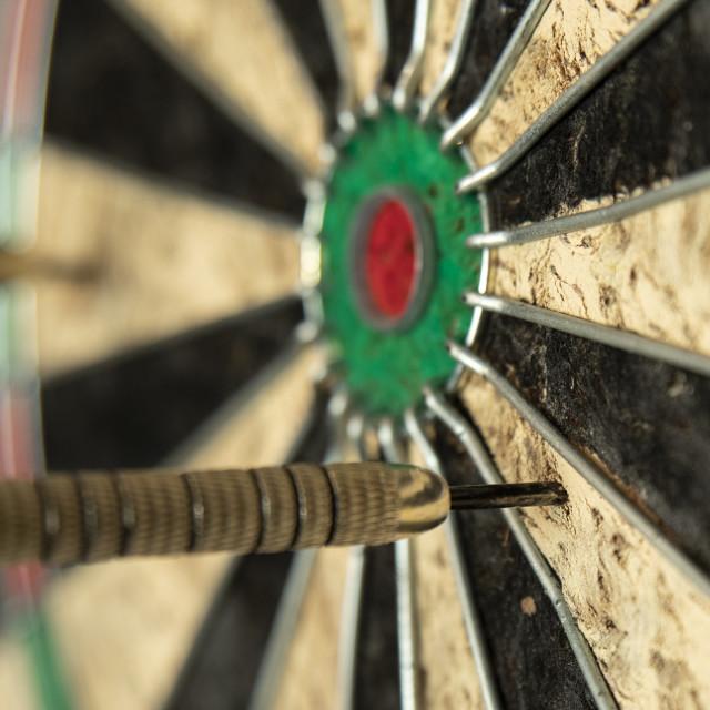 """""""Darts mising the bulls eye"""" stock image"""