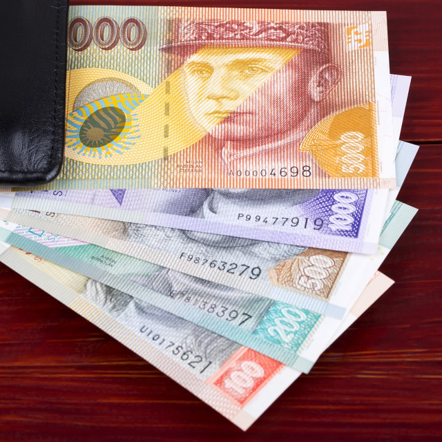 """Slovak money in the black wallet"" stock image"