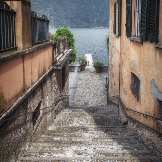 """""""Old street of Orta Lake (Northern Italy). Color image"""" stock image"""