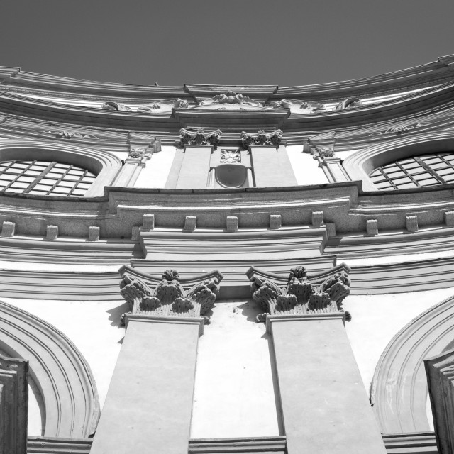 """""""Vigevano Cathedral facade. Black and white photo"""" stock image"""