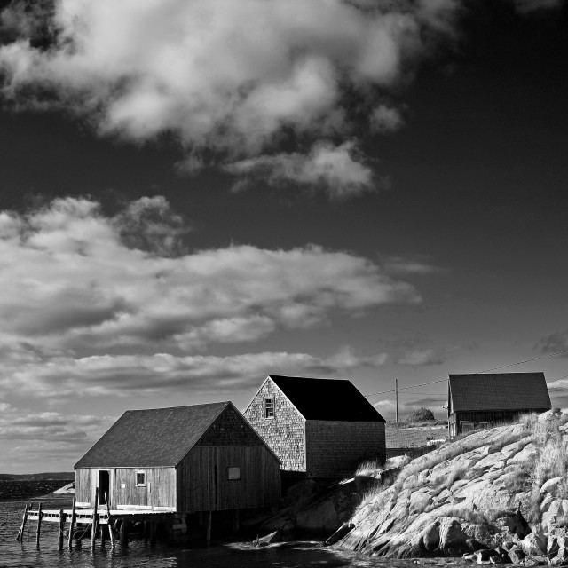 """""""Peggy's Cove, Black and White"""" stock image"""