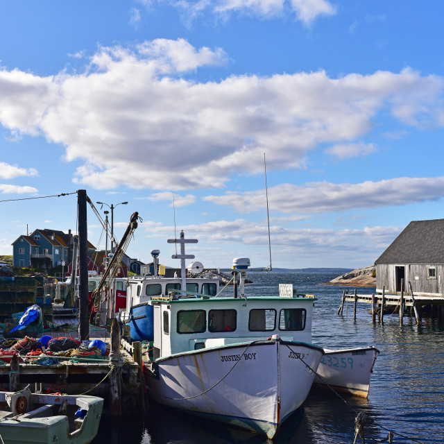 """Boats, Peggy's Cove"" stock image"