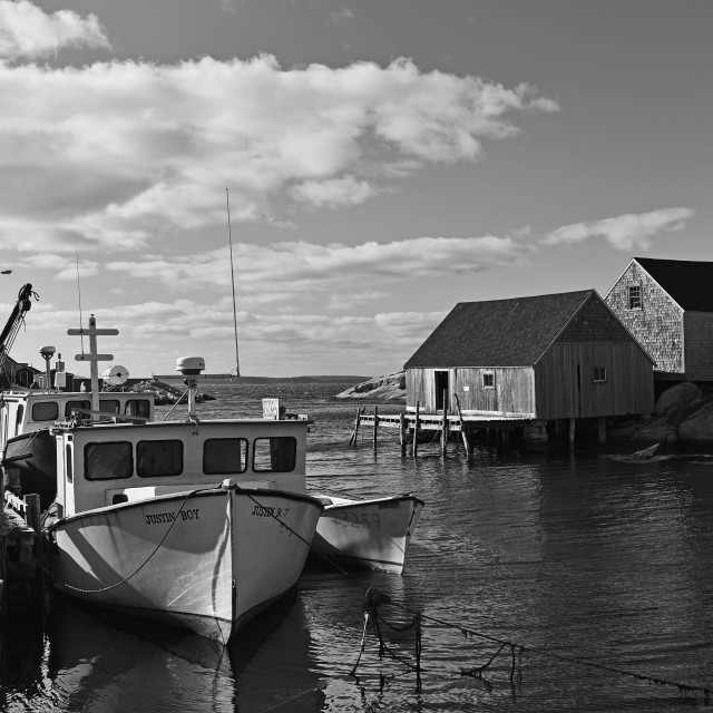 """Peggy's Cove, Black and White"" stock image"