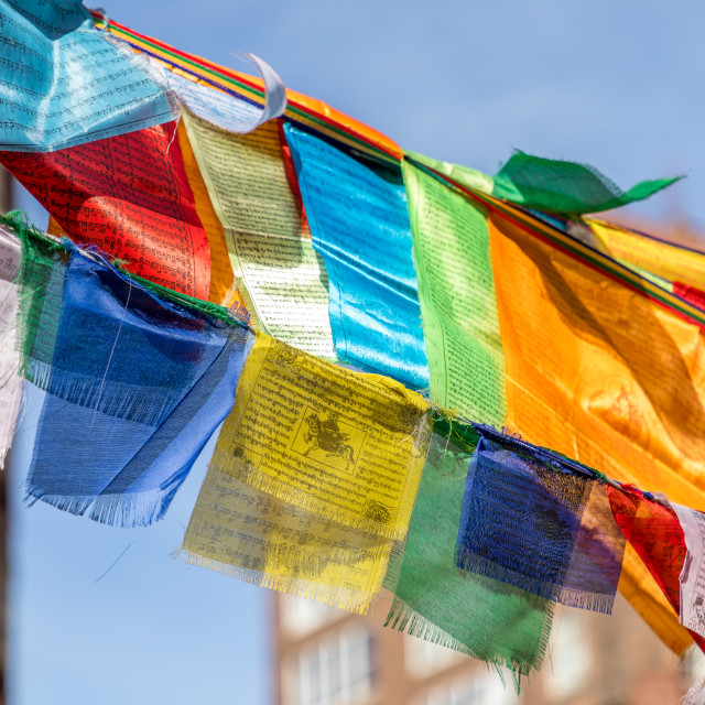 """Buddhist Prayer Flags in Bogardus Garden, Tribeca, New York, USA"" stock image"