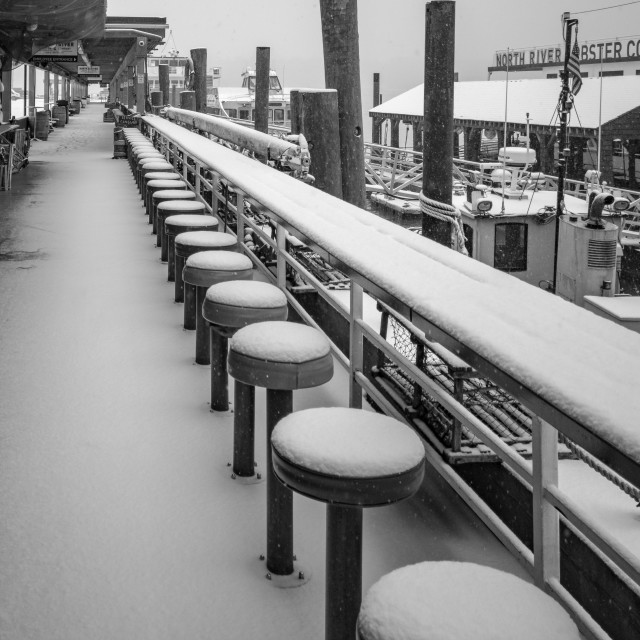 """Snow at Pier 81, New York, USA"" stock image"