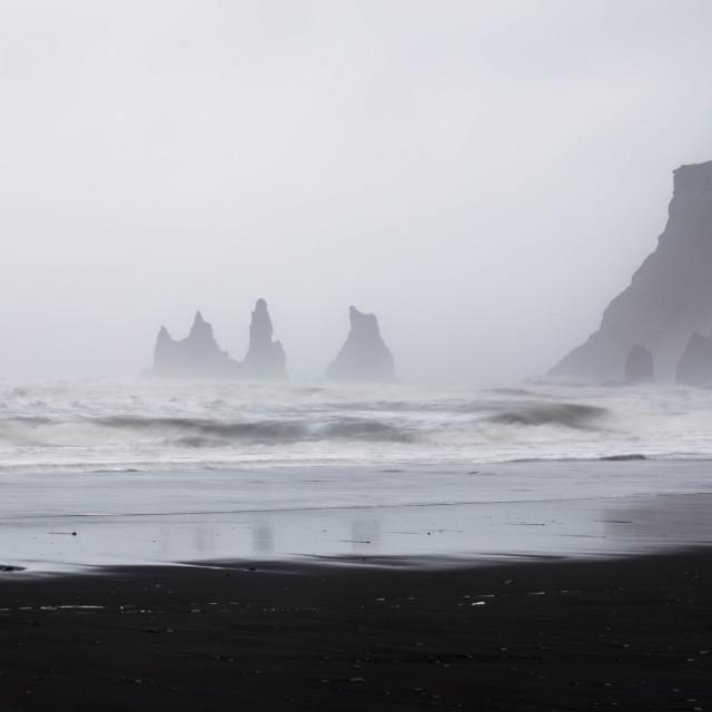 """Reynisdrangar Basalt Rocks at Reynisfjara Black Sand Beach, Iceland"" stock image"