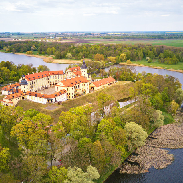 """""""Aerial panorama of Medieval castle in Nesvizh. Belarus"""" stock image"""