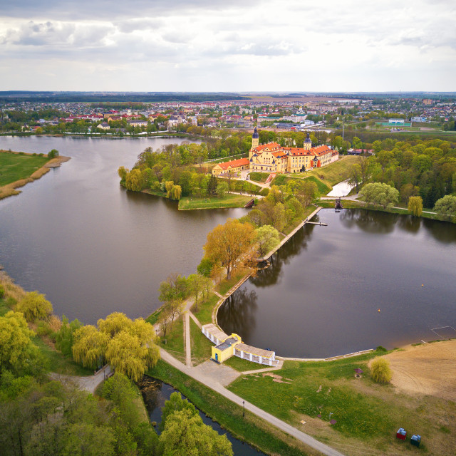 """""""Aerial view of Medieval castle in Nesvizh. Belarus"""" stock image"""