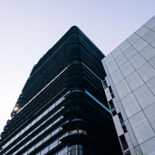 """BBVA skyscraper in Financial District of Madrid"" stock image"