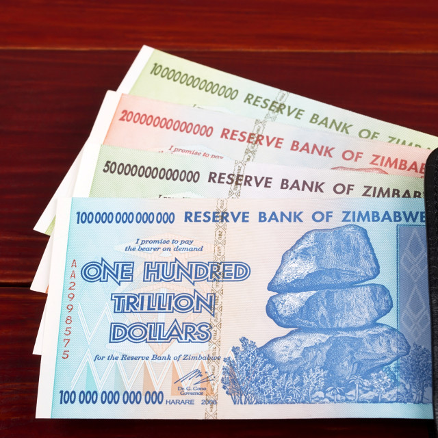 """Trillion dollars from Zimbabwe, in the black wallet"" stock image"