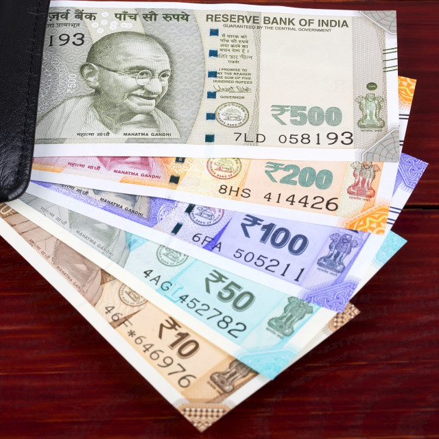 """New series of Indian rupee in the black wallet"" stock image"