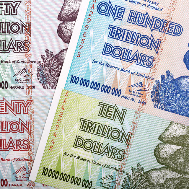 """Trillion dollars from Zimbabwe, a background"" stock image"