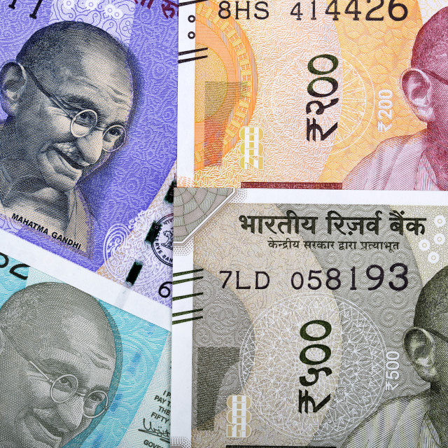 """New series of Indian rupee, a background"" stock image"
