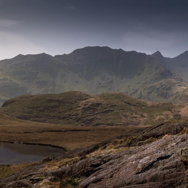 """Lllyn Teyrn Reservoir, Snowdonia"" stock image"