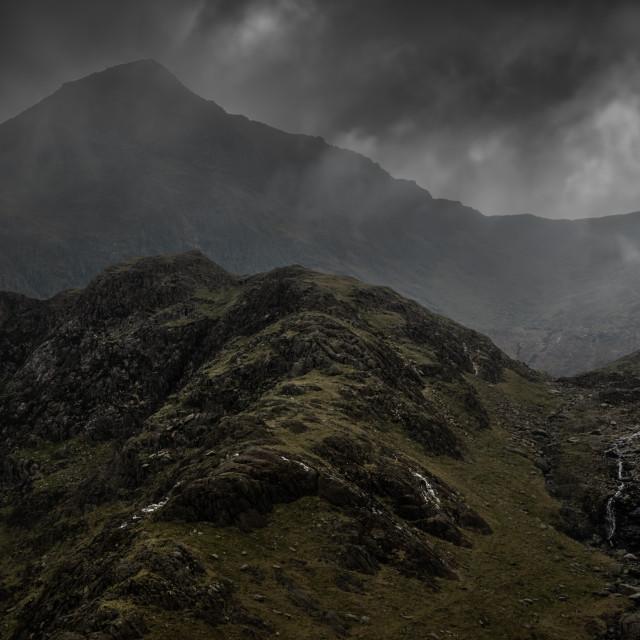 """Moody Mount Snowdon"" stock image"