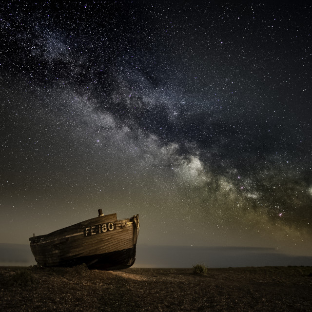 """""""Dungeness Boat Milky Way II"""" stock image"""