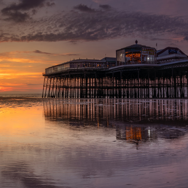 """North Pier, Blackpool at sunset"" stock image"
