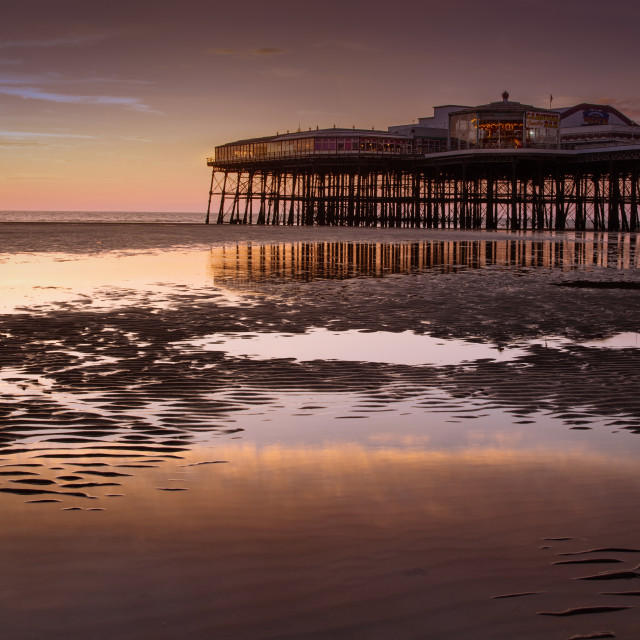 """Sunset, North Pier, Blackpool"" stock image"