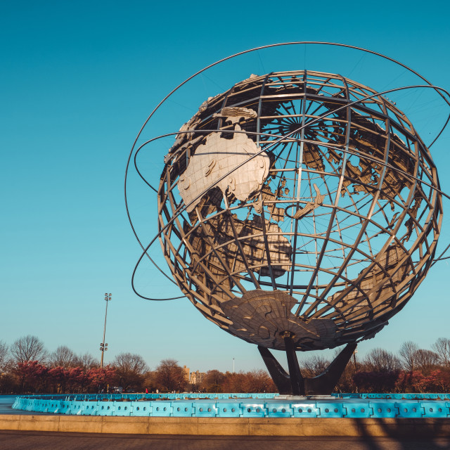 """""""Unisphere monument in Flushing, Queens, NY with clear sky"""" stock image"""