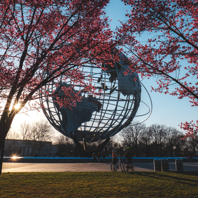 """""""Unisphere monument in Flushing, Queens, NY in spring"""" stock image"""