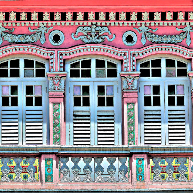 """Singapore Shophouse: ""Pastel Pink"""" stock image"