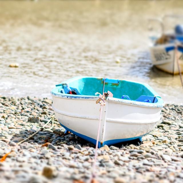 """""""Little Cyan Boat"""" stock image"""