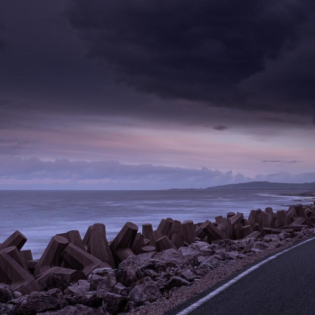 """""""Coastal cycle path, North Wales"""" stock image"""