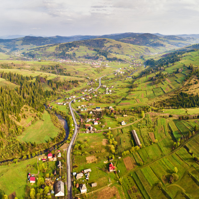 """""""Rural spring misty landscape. Aerial Panorama of Carpathian valley."""" stock image"""