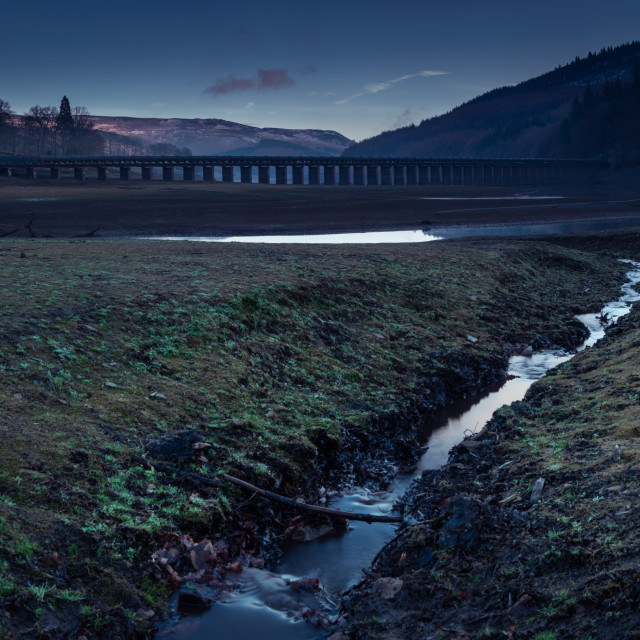 """""""The Ladybower Reservoir during blue hour"""" stock image"""