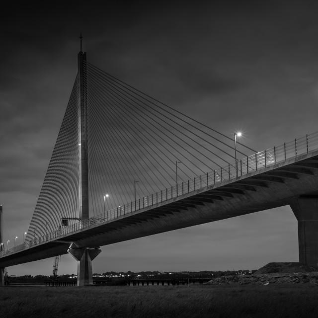 """The Mersey Gateway Bridge at night"" stock image"