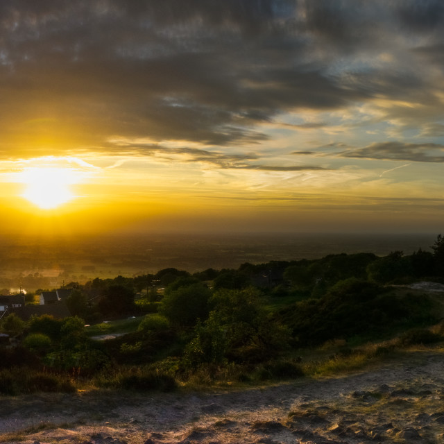 """Mow Cop Castle- sunset"" stock image"