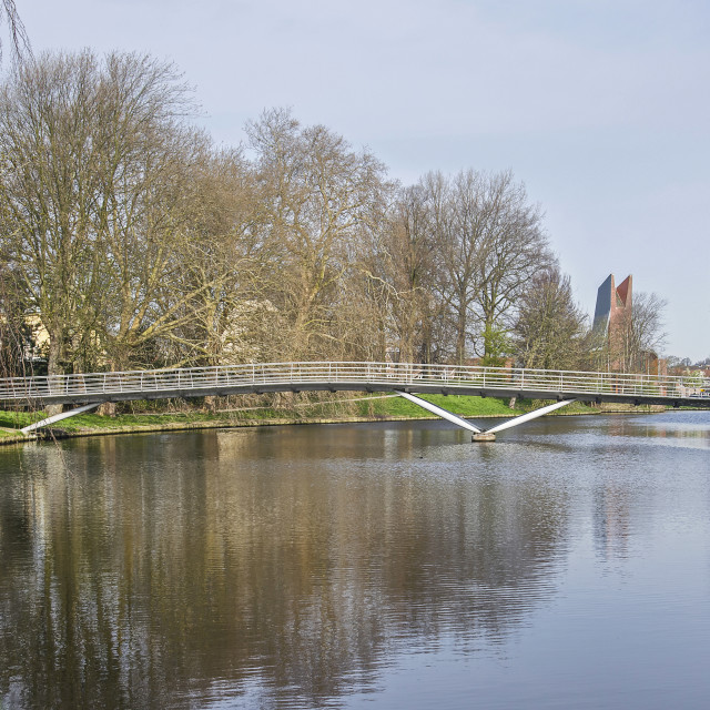 """Haarlem ramparts canal with bridge"" stock image"