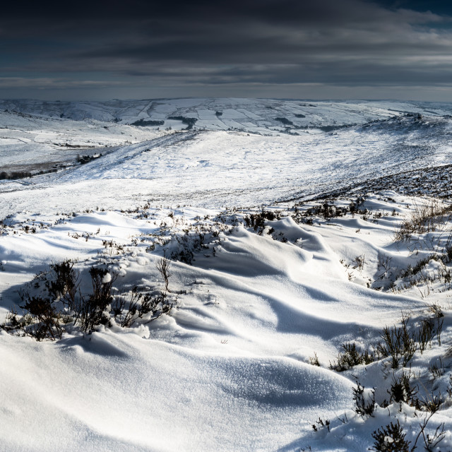 """Ripples in the snow on the Roaches"" stock image"
