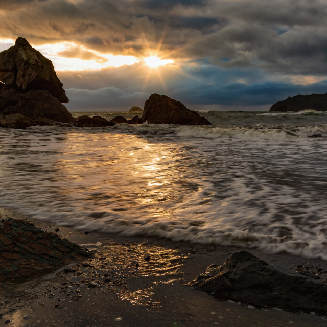 """A Rocky Beach Landscape at Sunset, Humboldt County, California"" stock image"