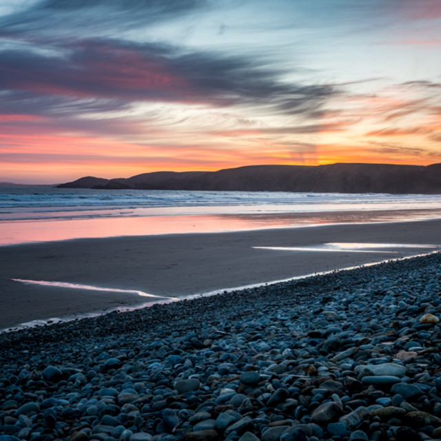 """Sunset over Newgale Beach"" stock image"