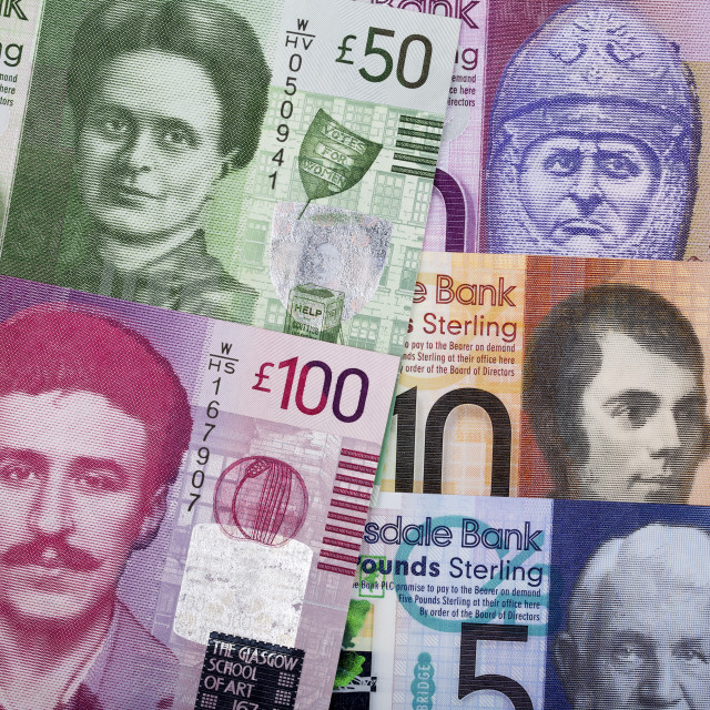 """Scottish Pounds a business background"" stock image"