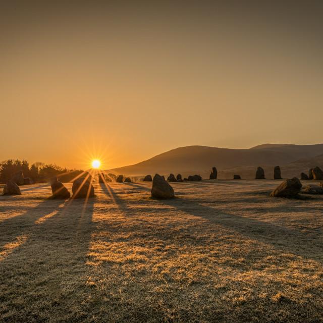 """""""Castlerigg Stone Circle at sunrise"""" stock image"""